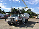 Altec LRV-56, Over-Center Bucket Truck, mounted behind cab on, 2004 Ford F750 Chipper Dump Truck