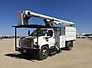 Altec LRV-56, Over-Center Bucket Truck, mounted behind cab on, 2004 GMC C7500 Chipper Dump Truck