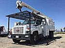 Altec LRV-56, Over-Center Bucket Truck, mounted behind cab on, 2004 GMC C7500 Dump Chipper Truck