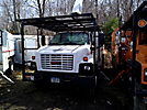 Altec LRV-56, Over-Center Bucket Truck, mounted behind cab on, 2005 GMC C7500 Chipper Dump Truck