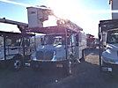 Altec LRV-56, Over-Center Bucket Truck, mounted behind cab on, 2006 International 4300 Chipper Dump Truck