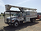 Altec LRV-56, Over-Center Bucket Truck, mounted behind cab on 2006 Ford F750 Chipper Dump Truck,