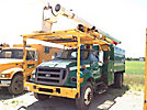 Altec LRV-56, Over-Center Bucket Truck mounted behind cab on 2004 Ford F750 Chipper Dump Truck