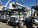 Altec LRV-56, Over-Center Bucket Truck mounted behind cab on 2006 Ford F750 Chipper Dump Truck