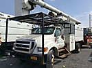 Altec LRV-56, Over-Center Bucket Truck mounted behind cab on 2007 Ford F750 Chipper Dump Truck