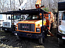 Altec LRV-58, Over-Center Bucket Truck, mounted behind cab on, 2002 GMC C7500 Chipper Dump Truck
