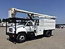 Altec LRV-58, Over-Center Bucket Truck, mounted behind cab on 2001 GMC C7500 Dump Chipper Truck,