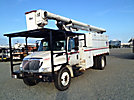 Altec LRV-60, Over-Center Bucket Truck, mounted behind cab on, 2005 International 4300 Chipper Dump Truck