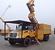 Altec LRV-60E70, Elevator Bucket Truck, mounted behind cab on, 2004 International 4200 Dump Chipper Truck