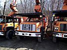 Altec LRV-60E70, Over-Center Elevator Bucket Truck, mounted behind cab on, 2002 GMC C7500 Chipper Dump Truck