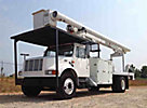 Altec LRV-60E70, Over-Center Elevator Bucket Truck, mounted behind cab on, 2002 International 4700 Flatbed Truck