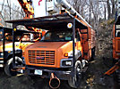 Altec LRV-60E70, Over-Center Elevator Bucket Truck, mounted behind cab on, 2003 GMC C8500 Chipper Dump Truck