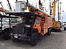 Altec LRV-60E70, Over-Center Elevator Bucket Truck, mounted behind cab on, 2004 GMC C8500 Chipper Dump Truck