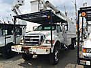 Altec LRV-60E70, Over-Center Elevator Bucket Truck, mounted behind cab on 2004 Ford F750 4x4 Chipper Dump Truck,