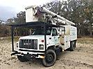Altec LRV60-E70, Over-Center Elevator Bucket Truck, mounted behind cab on, 2001 GMC C8500 Chipper Dump Truck
