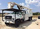 Altec LRV60-E70, Over-Center Elevator Bucket Truck, mounted behind cab on, 2002 GMC C7500 Chipper Dump Truck
