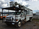 Altec LRV60-E70, Over-Center Elevator Bucket Truck, mounted behind cab on, 2008 Ford F750 Chipper Dump Truck