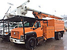 Altec LRV60-E70, Over-Center Elevator Bucket Truck mounted behind cab on 2004 GMC C7500 Chipper Dump Truck