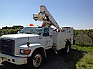Altec TA37-MH, Articulating & Telescopic Material Handling Bucket Truck, mounted behind cab on, 1997 Ford F800 Utility Truck