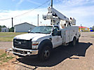 Altec TA37-MH, Articulating & Telescopic Material Handling Bucket Truck mounted behind cab on 2008 Ford F550 Service Truck