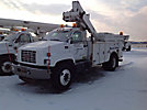 Altec TA40, Articulating & Telescopic Material Handling Bucket Truck, center mounted on, 1999 GMC C7500 Utility Truck
