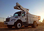 Altec TA45M, Articulating & Telescopic Material Handling Bucket Truck, mounted behind cab on, 2007 Freightliner M2 106 Utility Truck