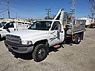 Autogru, Hydraulic Knuckle Boom Crane, mounted behind cab on, 2001 Dodge Ram 3500 Flatbed Truck