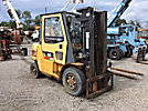 "Caterpillar DP40K, 8,000# cap. Pneumatic Tired Forklifts, s/n AT19C20347, diesel, shuttle with 198"" mast height, hyd side shift, hyd open & close 48"" forks & enclosed ROPS cab"