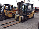 "Caterpillar DP40K, 8,000# cap. Pneumatic Tired Forklifts, s/n _____________, diesel, shuttle with 198"" mast height, hyd side shift, hyd open & close 48"" forks & enclosed ROPS cab"
