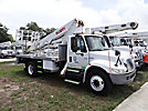 Elliot 1150F-NAUS, Telescopic Insulated Platform Lift mounted behind cab on 2005 International 4300 Flatbed Truck