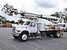 Elliott ECG-4-85, Telescopic Platform/Hydraulic Crane, mounted behind cab on, 1996 Ford F800 Flatbed/Utility Truck