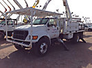 HiRanger 5TC-55MH, Material Handling Bucket Truck, rear mounted on, 2000 Ford F750 Flatbed/Utility Truck