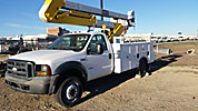 HiRanger HR37-MH, Material Handling Bucket Truck, mounted behind cab on, 2006 Ford F550 4x4 Service Truck
