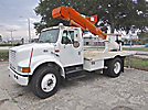 HiRanger TL40-P, Articulating & Telescopic Bucket Truck, mounted behind cab on, 1999 International 4700 Flatbed Truck