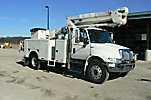 HiRanger TL50M, Articulating & Telescopic Material Handling Bucket Truck mounted behind cab on 2008 International 4300 Utility Truck
