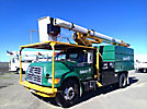 HiRanger XT5, Over-Center Bucket Truck, mounted behind cab on, 1999 Ford F800 Chipper Dump Truck