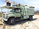 HiRanger XT5-55, Over-Center Bucket Truck, mounted behind cab on, 2002 GMC C6500 Chipper Dump Truck