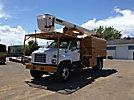 HiRanger XT52, Over-Center Bucket Truck, mounted behind cab on, 1998 GMC C7500 Chipper Dump Truck