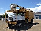 HiRanger XT52, Over-Center Bucket Truck, mounted behind cab on, 1998 GMC C7500 Dump Chipper Truck