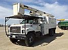 HiRanger XT55, Over-Center Bucket Truck, mounted behind cab on, 2001 GMC C7500 Chipper Dump Truck
