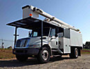 HiRanger XT55, Over-Center Bucket Truck, mounted behind cab on, 2007 International 4300 Chipper Dump Truck