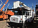 HiRanger XT55, Over-Center Bucket Truck mounted behind cab on 2005 GMC C7500 Chipper Dump Truck