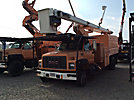 HiRanger XT60/70, Over-Center Elevator Bucket Truck, mounted behind cab on, 2001 GMC C8500 Chipper Dump Truck