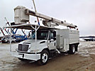 HiRanger XT60/70, Over-Center Elevator Bucket Truck, mounted behind cab on, 2003 International 4400 Chipper Dump Truck