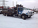 Hiab Jib 90, Hydraulic Knuckle Boom Crane, mounted behind cab on, 2002 International 7500 T/A Stake Truck