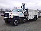 IMT 1295-9000, Hydraulic Knuckle Boom Crane, mounted behind cab on, 2001 GMC C8500 Flatbed Truck