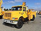 IMT 5200, Hydraulic Knuckle Boom Crane mounted behind cab on 1997 International 4900 URD/Flatbed Truck