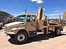 IMT 8036, Hydraulic Knuckle Boom Crane, mounted behind cab on, 1998 Freightliner FL80 Flatbed Truck