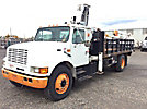 IMT 9000, Hydraulic Knuckle Boom Crane mounted behind cab on 1996 International 4900 Stake Truck