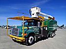 Lift-All LAOC-51-1S, Over-Center Bucket Truck, mounted behind cab on, 1997 Ford F800 Chipper Dump Truck